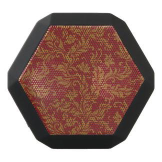 Haut-parleurs Noirs Sans-fils Rouge et motif floral d'or