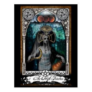 Haute carte postale de carte de tarot de prêtresse