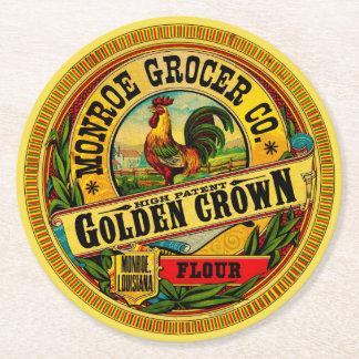 Haute farine de brevet de couronne d'or dessous-de-verre rond en papier