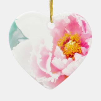 Haute fleur rose principale de pivoine ornement cœur en céramique