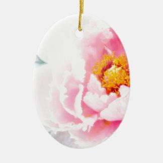Haute fleur rose principale de pivoine ornement ovale en céramique
