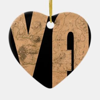 havana1762 ornement cœur en céramique