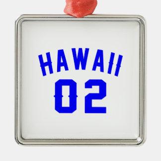 Hawaï 02 conceptions d'anniversaire ornement carré argenté