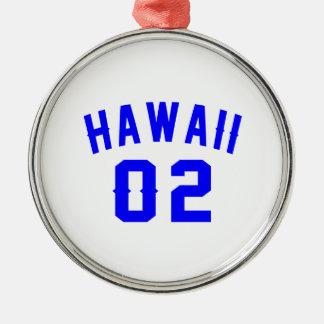 Hawaï 02 conceptions d'anniversaire ornement rond argenté