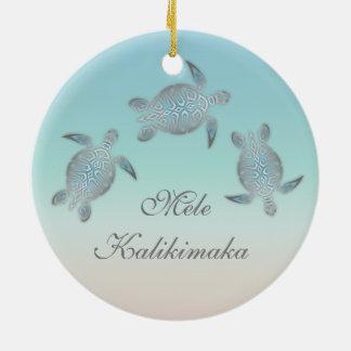 Hawaïen animal argenté de tortue de mer ornement rond en céramique