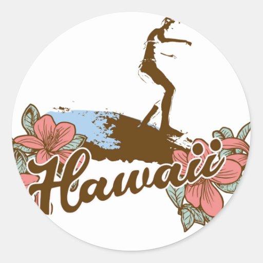 Hawaïen de surf d'Hawaï de plage de fille de Autocollants Ronds