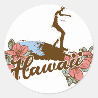 Hawaïen de surf d'Hawaï de plage de fille de Sticker Rond