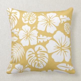 Hawaïen tropical jaune floral et de feuille coussin
