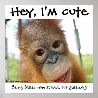 Hé je suis orang-outan mignon de bébé poster
