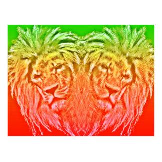 HEART LION RASTA CARTE POSTALE
