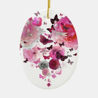 Heart of flowers and butterflies ornement ovale en céramique
