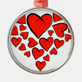 Heartinella - coeurs de vol ornement rond argenté
