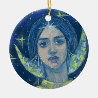 Hecate, déesse de lune, peinture en pastel, art ornement rond en céramique