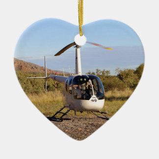 Hélicoptère (blanc), à l'intérieur Australie 2 Ornement Cœur En Céramique