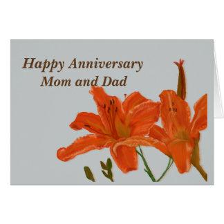 Hémérocalles de maman et de papa d'anniversaire carte de vœux