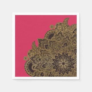 Henné à la mode mignon de fleur de scintillement serviette en papier