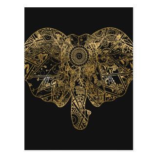 Henné tiré par la main d'éléphant mignon floral carte postale