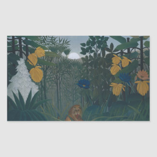 Henri Rousseau - le repas du lion Sticker Rectangulaire