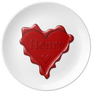 Henry. Joint rouge de cire de coeur avec Henry Assiettes En Porcelaine