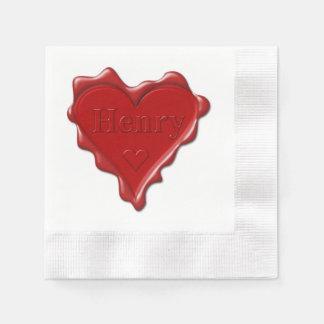 Henry. Joint rouge de cire de coeur avec Henry Serviette En Papier