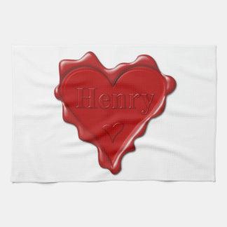 Henry. Joint rouge de cire de coeur avec Henry Serviette Éponge