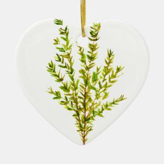 Herbe botanique d'herbes de thym ornement cœur en céramique
