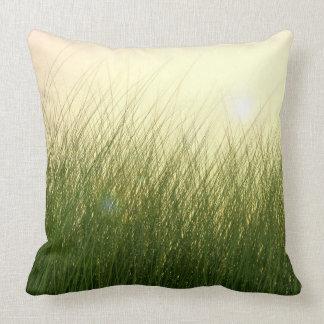 Herbe verte dans Sun lumineux Oreiller