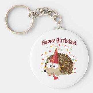 Hérisson de joyeux anniversaire de confettis porte-clé rond