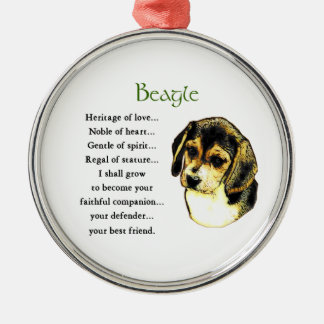 Héritage de beagle de l'amour ornement rond argenté