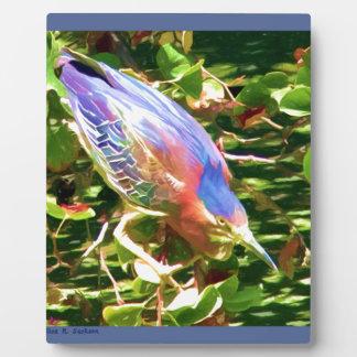 Héron coloré plaque photo