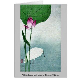 Héron et lotus blancs par Baison, Ukiyoe Cartes De Vœux