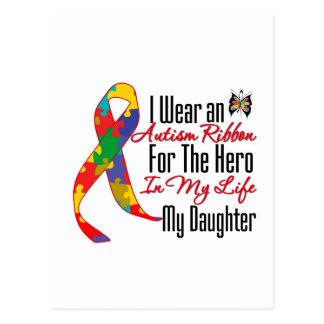 Héros de ruban d'autisme dans ma vie ma fille carte postale