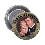 Héros militaire : J'aime mon cadre de photo de sol Badge Avec Épingle