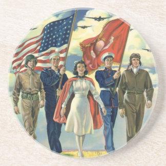 Héros patriotes et fiers vintages d'effectifs dessous de verre