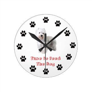 Heure d'alimenter au chien le terrier blanc de mon horloge