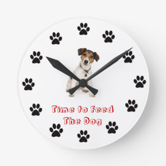 Heure d'alimenter le chien Jack Russell Terrier Horloge Ronde