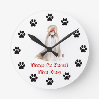 Heure d'alimenter le chien Shih Tzu Horloge Ronde