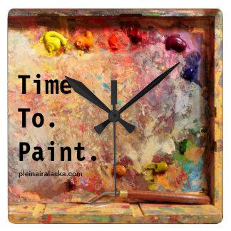 Heure de peindre l'horloge murale de studio de horloge carrée