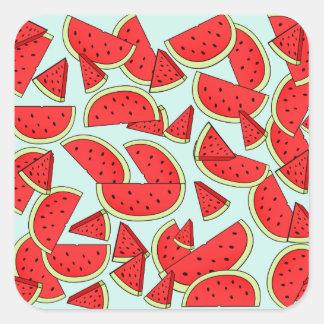 Heure d'été de pastèque sticker carré