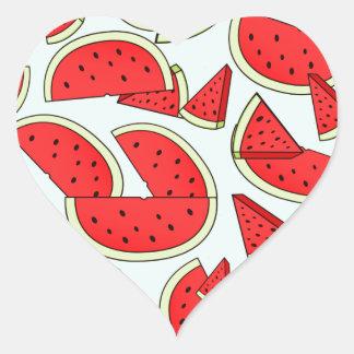 Heure d'été de pastèque sticker cœur