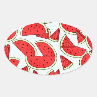 Heure d'été de pastèque sticker ovale