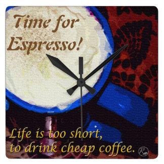 Heure pour le café express ! horloge carrée