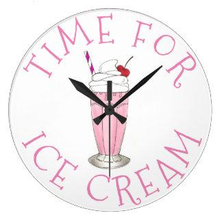 Heure pour le milkshake de crème aux fraises de grande horloge ronde