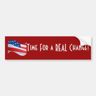Heure pour un vrai changement, drapeau américain autocollant pour voiture