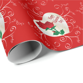 Heureuse Sainte-Valentin élégante Papier Cadeau Noël