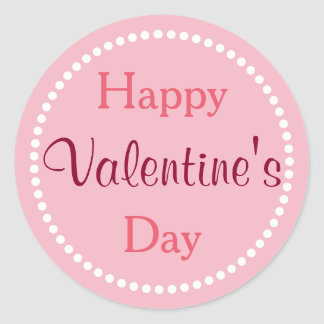 Heureuse Sainte-Valentin, rose et blanc Sticker Rond