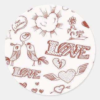 Heureuse Sainte-Valentin Sticker Rond