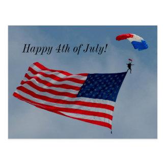 Heureux 4 juillet avec la carte postale de drapeau