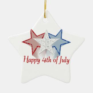 Heureux 4 juillet ornement étoile en céramique