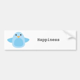 Heureux comme oiseau bleu autocollant de voiture